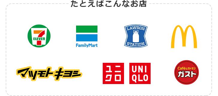 たとえばこんなお店 セブン‐イレブン ファミリーマート ローソン 日本マクドナルド マツモトキヨシ ユニクロ ガスト
